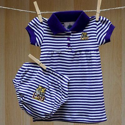 LSU Tigers Baby Infant Girl Striped Polo Dress Skirt (FREE SHIPPING) 6-9 months