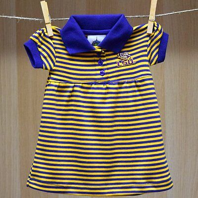 LSU Tigers Baby Infant Girl Striped Polo Skirt Dress (FREE SHIPPING) 6-9 months