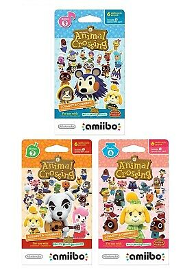 Nintendo Animal Crossing Amiibo Cards Series 2 3 4 3DS Wii U 6 card Packed (NEW)