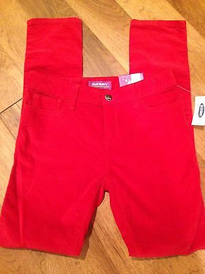 NWT Girls OLD NAVY Size 12  Red Cotton Blend Skinny Jeans - Ships Free