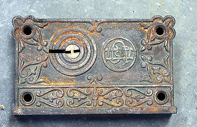 Marvelous Victorian Rim Door Lock Hardware NO Key old antique used real antique