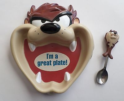 """Taz Figural Kid's Plate and Spoon * I'm a great plate"""" by Applause"""