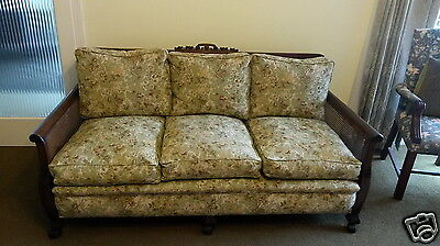 Antique Lounge suite fully recovered cane sided