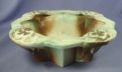 "McCoy Pottery Rustic Candy Dish or Planter Green Tan Brown 8-1/2"" L Rare Vintage"