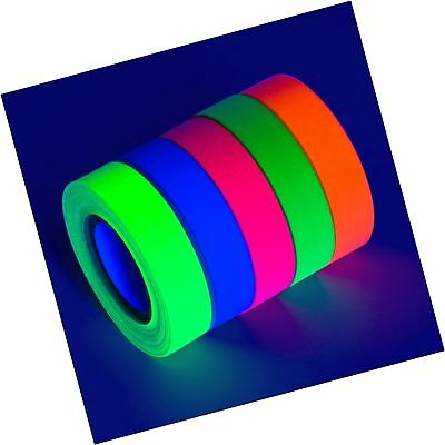 5-Pack UV Blacklight Reactive Fluorescent / Neon Gaffer Tape Matte Finish (va...