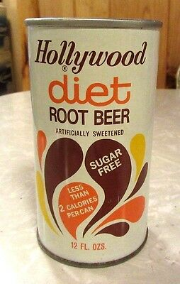 1974 Straight Steel Hollywood Diet Root Beer Soda Pull Tab Pop Can Top Open