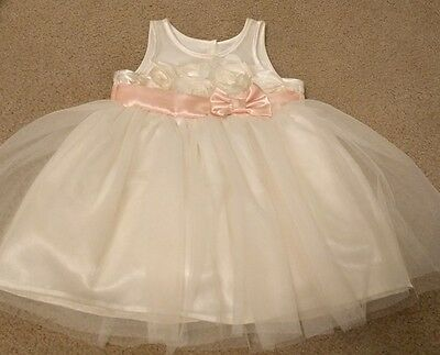 Cherokee Girls Pink & Ivory Tulle Dress, Party, Easter, Wedding,  Size 12 Months