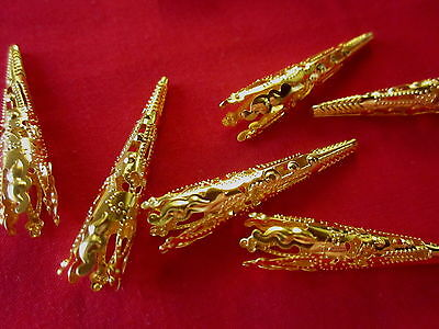 20 Gold Coloured 40x8mm Filigree Cone Bead Caps #bc1886 Combine Post-See Listing