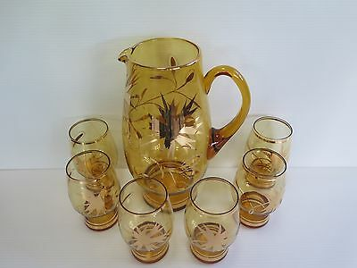 Stunning Vintage 7 Piece Amber Glass With Gold Decorations Water Set