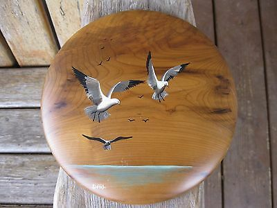 Antique OR Myrtlewood Hand Painted Wall Art Plaque Vintage Signed/Artist Gulls