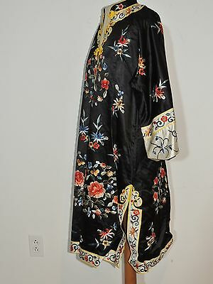 Vintage Chinese Floral Hand Embroidered Silk Robe / Jacket / Coat SM