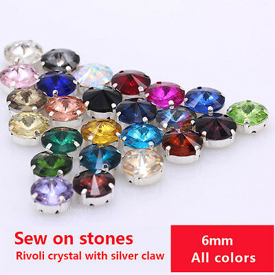 20p 6mm color flatback glass Rhinestones Sew On Crystal Round Stone Silver Plate