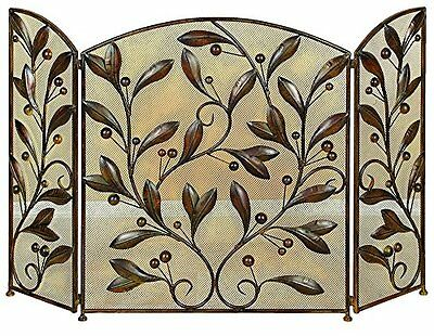 Metal Fire Screen Iron Fireplace Protection 3 Panel Brown Ornate Leaf Home Decor