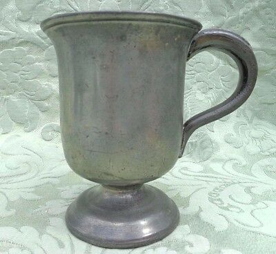 Antique Pewter High Footed Half Pint Tankard or Mug Circa 1850 Stamped VR LI