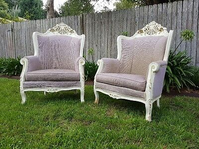 Set 2 Beautiful Antique Carved Italianate Wingback Armchairs
