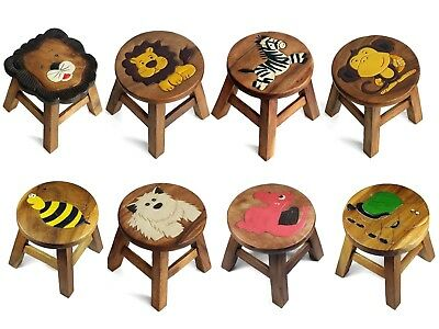 Solid Wood Kids Childrens Childs Wooden Stool Chair - ANIMALS