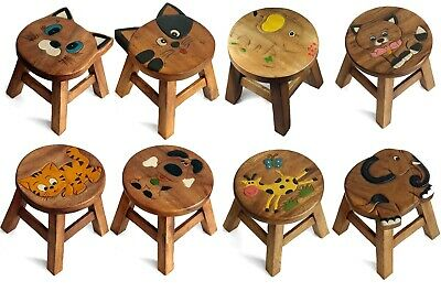 Kids Childs Childrens Wooden Stool Chair - ANIMALS