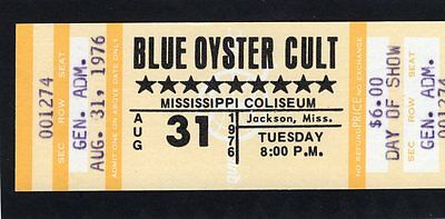 1976 Blue Oyster Cult unused full concert ticket Jackson MS Agents Of Fortune