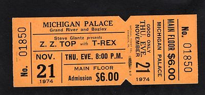 Original 1974 ZZ Top T Rex unused concert ticket Michigan Palace MI Tres Hombres