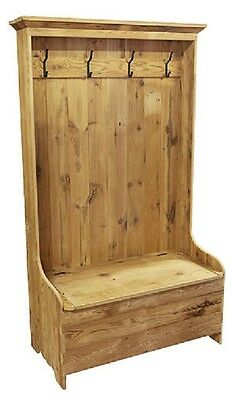 """RECLAIMED ANTIQUE BARN WOOD HALL TREE W/BENCH STORAGE- UNFINISHED-PINE 43""""Wx72""""H"""