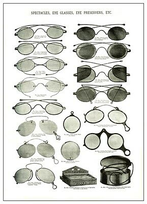 Antique Victorian Catalogue Illustr. Spectacles & Eyeglasses A3  Poster Reprint