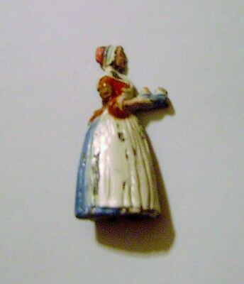 Antique Bakers Chocolate Girl Painted Metal Figure Advertising Pencil Sharpener