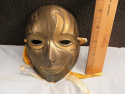 Vintage Solid Brass with Enamel Decorative Mask Made in India - VGC