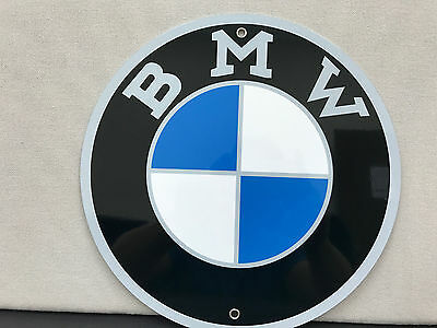 Bmw racing vintage sign round metal garage man cave