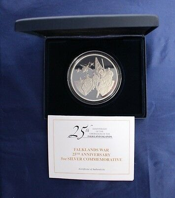 "2007 Falkland Is 5oz Silver Proof ""Liberation Anniversary"" in Case / COA (Z4/31)"