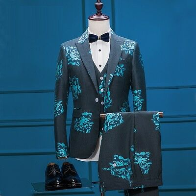 Grid Men's Wedding Suits Slim Fit Groom Formal Tuxedos Tailcoat Tailored Suits
