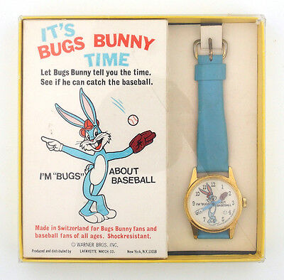 1974 Bugs Bunny Baseball Lafayette Character Watch in Original Box