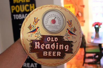 Rare Old Reading Beer Thermometer  Metal Sign   Soda Pop  Gas Oil Coke Pabst