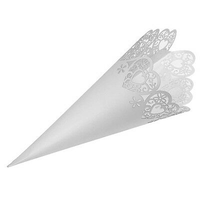 Confetti Cones - Laser Cut Hearts or Flowers in White, Ivory or Craft Brown