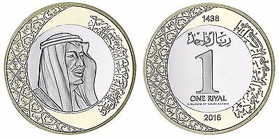 Saudi Arabia 1 Riyal, 5.8g CuNi Brass Coin, 2016, KM#78, Mint, 7th King Salman