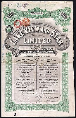 1934 Western Australia: Lake View and Star Limited - 10 Shares, with coupons