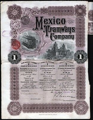 1910 Mexico Tramways Company - $100 in Gold, uncancelled with 3 coupons