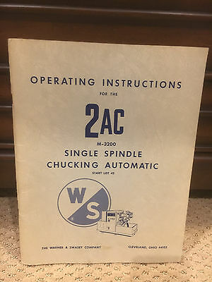 Warner & Swasey 2AC M-3200 Automatic Chuck Instruction Manual Original