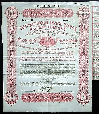 1869 Republic of Peru: National Pisco to Yca Railway Company - £100