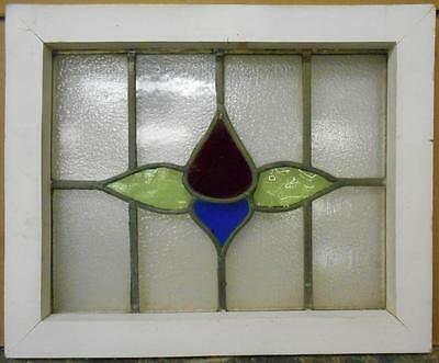 """OLD ENGLISH LEADED STAINED GLASS WINDOW Simple Floral 20"""" x 16.5"""""""
