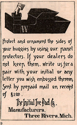 1891 A Ad  Initial Toe Pad Co Three Rivers Mich Buggy Panel Protectors