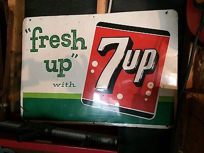 Vintage Original 1963 7 UP Embossed Tin Litho Fresh Up With 7UP Sign Stout