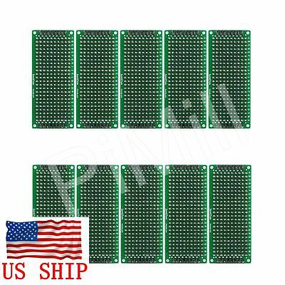 10pcs Double Side Prototype PCB Tinned Universal Bread board DIY 3x7cm US Stock