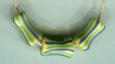 African Trade beads glass Vintage Venetian glass 3 nice dog bone striped