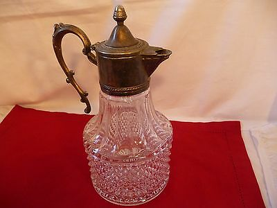 "10"" VTG. Crystal Glass Silver Plated Pitcher Decanter ~Wine~Water~ Brandy Carafe"