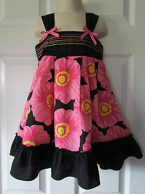 Youngland Adorable Pink Black Floral Toddler Girl Easter Dress Size 4T