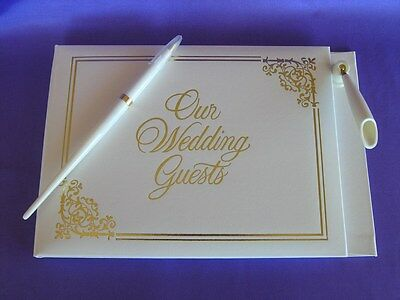GUEST BOOK with Pen and Holder Gold  Embossed Wedding  96 Pages White Gold NEW