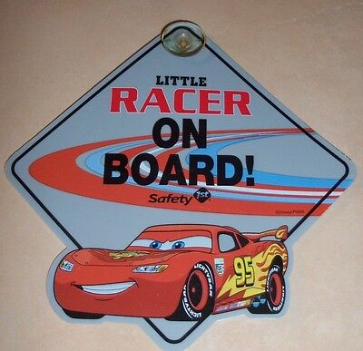 DISNEY PIXAR CARS Safety 1st LITTLE RACER ON BOARD WINDOW SIGN PLACARD BABY