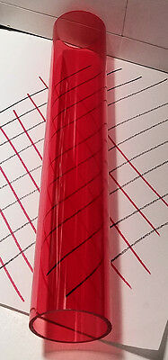 "1 Pc 2 1/4"" x 2"" RED CLEAR ACRYLIC PLEXIGLASS LUCITE PLASTIC TUBE 24"" INCH LONG"