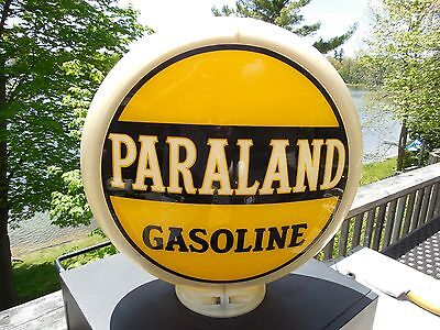 ORIGINAL 1930's PARALAND GASOLINE GAS PUMP GLOBE WITH NOTCHED LENSES CAPCO BODY