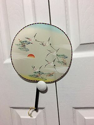 Antique Vintage Painted Hand Fan, Signed